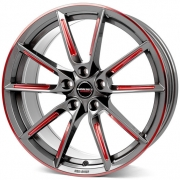 Borbet LX graphite spoke rim red polished